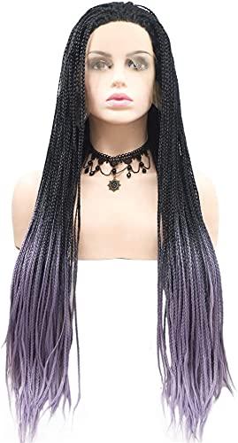VIWIV Pelucas Peluca Negro púrpura Enchufe Peluca de Pelo Largo Femenino Hecho a Mano de Encaje Europeo y Americano Peluca Conjunto