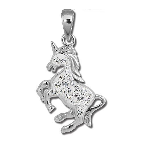 Colgante de unicornio SilberDream, con circonitas blancas, colgante para niños, enplata de...
