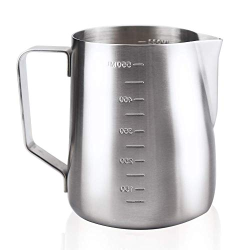 MAVO Milk Frothing Pitcher Milk Frother Cup 20oz  Measurements on Both Sides  Perfect for Latte Art Espresso Machines Cappuccino  304 Food Grade Stainless Steel 20 Ounce
