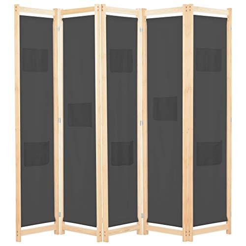 UnfadeMemory Biombo Divisor Plegable para Habitación con Bolsas en Paneles,Separador de Ambientes o Espacios,Decoración de Hogar,Estructura de Madera,Tela (5 Paneles,200x170x4cm, Gris)