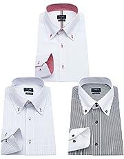 ワイシャツ メンズ 長袖 ボタンダウン 細身 ビジネス シャツ 3枚組入り 多色選択