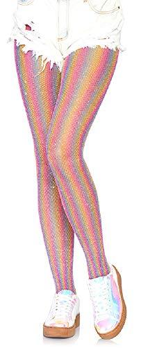 Leg Avenue Dames Net Panty Regenboog Pink One Size ca. 36 tot 40