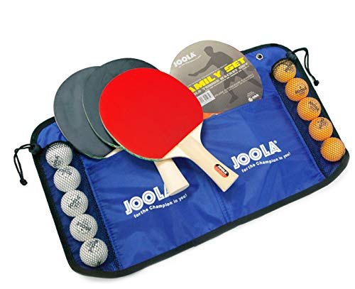 JOOLA Family Premium Table Tennis Bundle Set  4 Regulation Ping Pong Paddles 10 Training 40mm Ping Pong Balls and Carrying Case  For Training and Recreational Play  Indoor and Outdoor Compatible