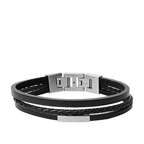 Fossil Herren Armband - Edelstahl und Leder, JF03322040