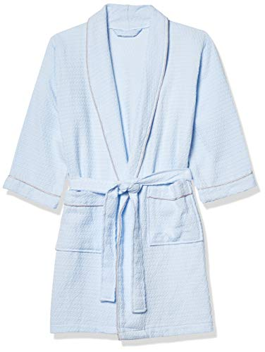 Suplove Children's Summer Cotton Bathrobe boy Girl Hooded hot Spring Swimming Sleeping Robe (XXL(8-11 Years), Blue)