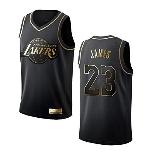 XPQY Los Angeles Lakers Herren Trikot LeBron James Schwarz Gold Basketball Uniform #23 Polyester bestickt Mesh Top ärmellos T-Shirt Sweatshirt schwarz-XL