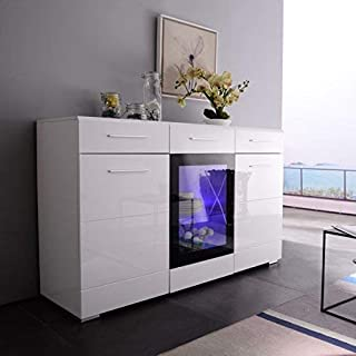 Mecor Sideboard Cabinet Buffet,Kitchen Sideboard and Storage Cabinet/TV Stand High Gloss LED Dining Room Server Console Table Storage with 3 Door/2 Drawers White