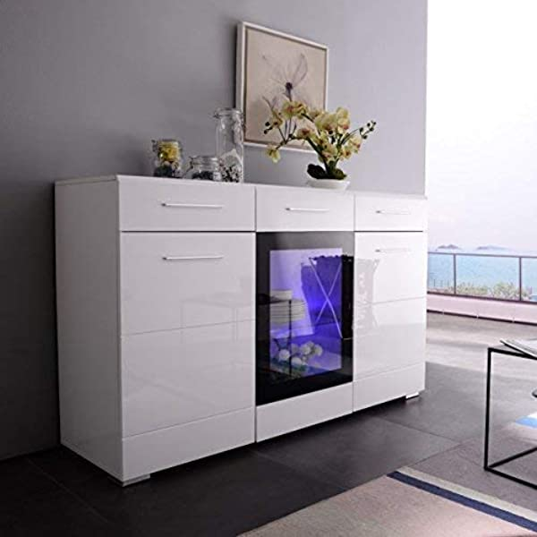 Mecor Sideboard Cabinet Buffet Kitchen Sideboard And Storage Cabinet TV Stand High Gloss LED Dining Room Server Console Table Storage With 3 Door 2 Drawers White