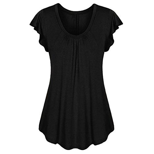 Longra T-Shirt a Maniche Corte Tinta Unita da Donna Maniche Volanti Tunica Donna Estive Magliette Blusa Eleganti Taglie Forti T Shirt Camicetta Grande Taglia Manica Corta Top, S-6XL