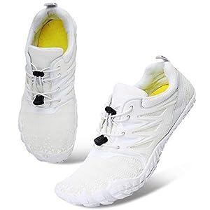 L-RUN Mens Minimalist Trail Running Barefoot Shoes White Women 10, Men 8 M US
