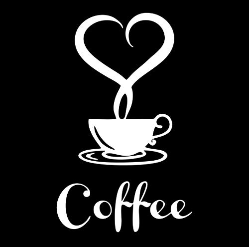 Adesivo Caffe' E Cuore - Adatto per FINESTRE - MURI - VETRI - MOBILI - Auto - Cucina - Coffe Love -...