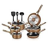 NutriChef Kitchenware Pots & Pans-Stylish Kitchen Cookware, Non-Stick (13-Piece Set), One size, Brown