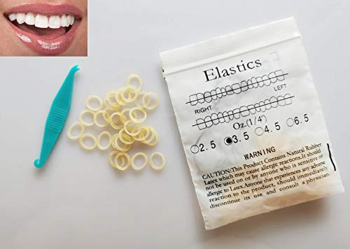 100 Pcs DentalSmile Amber 1/4 Elastic Rubber Bands Latex Braces 3.5oz MediumDental Orthodontic Latex Bands Dentist Great for Dreadlocks, Braids, Top Knots Free Placer
