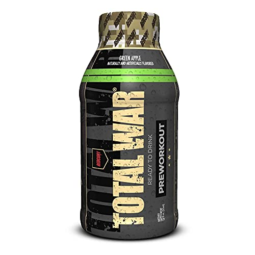 Redcon1 - Total War RTD - Ready to Drink Liquid Preworkout - Case of 12 - Amazing Flavors, Clean Energy, Caffeine, Beta Alanine, Increased Energy, Increased Focus, Increased Stamina (Green Apple)
