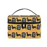 HaJie - Bolsa de maquillaje de gran capacidad para perro salchicha, para viaje, portátil, neceser, bolsa de almacenamiento, bolsa de lavado para mujeres y niñas