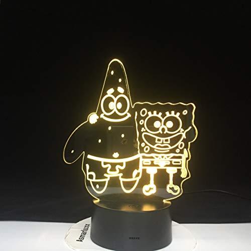 SpongeBob Patrick Acryl Neuheit Square Pants Stereo Baby Nachtlicht 3D LED Tischlampe Kinder Geburtstagsgeschenk Nachtzimmer Dekoration