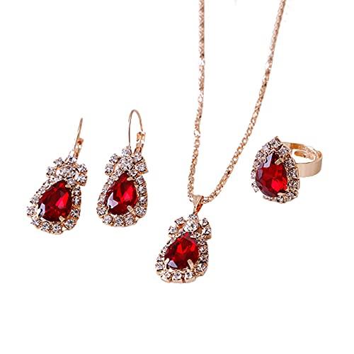 XPT Juego de 3 piezas de joyería para mujer, diseño de gota de agua brillante de aleación de diamantes de imitación, collar y pendientes, accesorios de joyería rojo