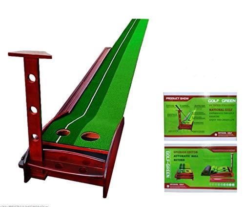 LIQIWI Golf Indoor Mettendo Verde Legno Solido Putter Trainer con Sistema di Ritorno Palla Automatico