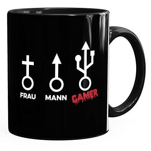 MoonWorks® Kaffee-Tasse Gaming Motiv lustig Nerd Mann Frau Gamer Symbol Bürotasse lustige Kaffeebecher Uni schwarz unisize