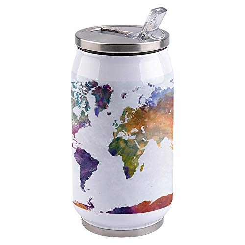 14 OZ Insulated Stainless Steel Travel Tumbler with Lid, Watercolor Double Wall Tumbler Coffee Cup with Straw and Lid Multicolored World Map Asia Europe Africa America Geography Print