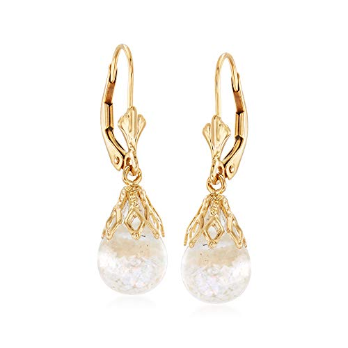 Ross-Simons Floating Opal Drop Earrings in 14kt Yellow Gold