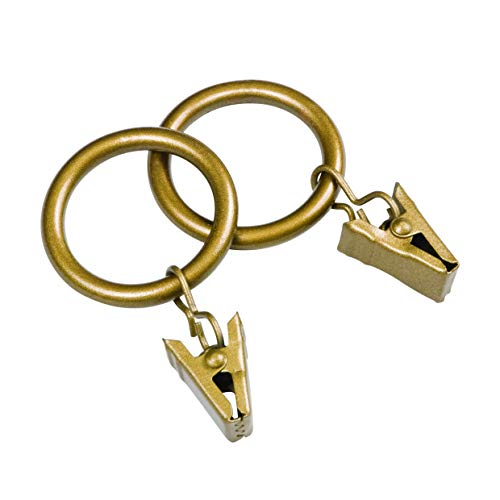 Kenney Window Curtain Clip Rings, 14 Pack, Old World Brass