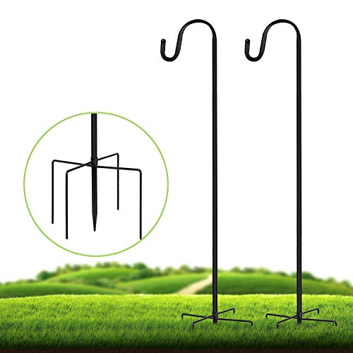JOYSEUS 2 Pack Shepherd Hook 43 Inch, 1/2 Inch Thick Heavy Duty Rust Resistant Shepards Hooks Outdoor Hangers for Hanging Plants, Solar Lights, Bird Feeders, and Christmas Decorations.