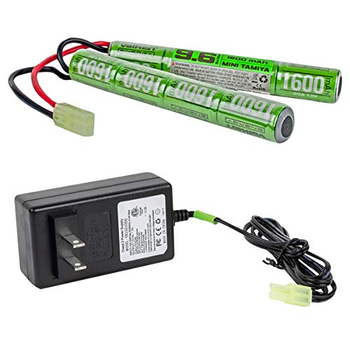 Valken Airsoft Battery/Charger Combo-NiMh 9.6V 1600mAh Split Style Battery & 1Amp Smart Charger
