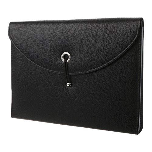 Piner 5-delige A4 Business-tas Heren Dames Leren etui Papieren bestandsmappen Pakket Messenger-tassen 13 lagen, zwart