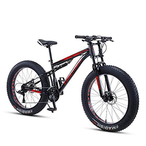 DANYCU Bicicleta de montaña de 26 Pulgadas para Hombre,Bicicleta de neumático Gordo,Bicicleta Todoterreno,Marco de Cola Blanda de Acero al Carbono,Freno de Disco Doble,Negro,21 Speed