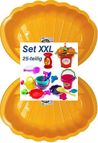 Sandbox Sandkasten Sandmuschel Muschel Wasser Planschbecken groß 108x79cm XL, 5 Farben! (2xgelb+25-TLG.Set)
