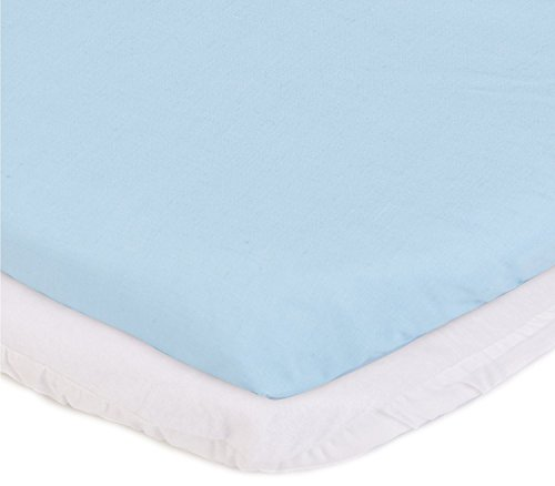 "aBaby Bassinet Mattress Protector and Sheet Combo, Blue, 17"" x 31"""