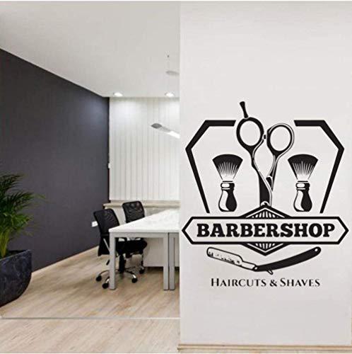 Barber Shop Wandtattoo, personaliseerbaar, vinyl, voor kapsel, heren, woonkamer, tondeuse, baard, gereedschap, logo, 42 x 46 cm