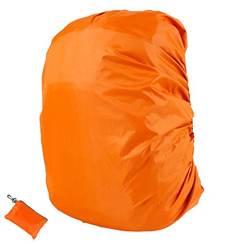 Backpack Rain Cover, Waterproof Rucksack Cover with Upgraded Anti-Slip Cross Buckle Straps for Hiking Camping Traveling Cycling (Orange)