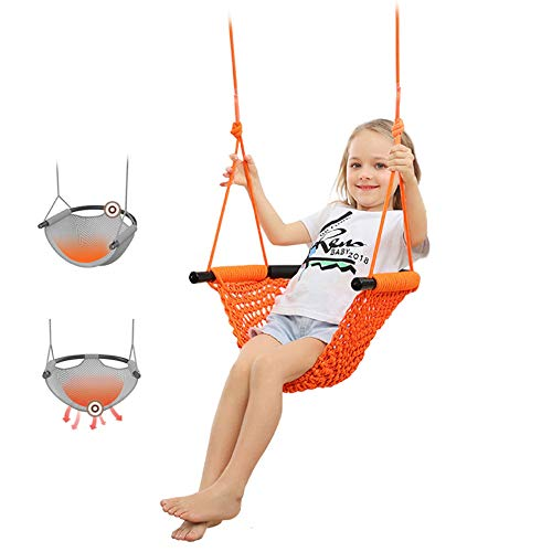 HYFDGV Hammock Swing Chair Seat for Children Height-adjustable with Connecting Ropes and Hooks Outdoor Patio Kids, for Up to 220 lbs