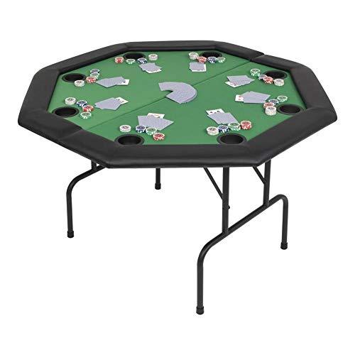 Mesa de Póker, Tablero de Póker Plegable Octágono para 8 Jugadores, Color Verde