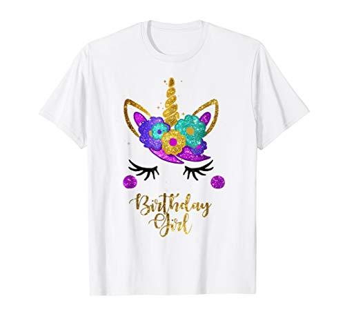 Unicorn Birthday Girl T-Shirt Unicorn Gift Birthday Outfit