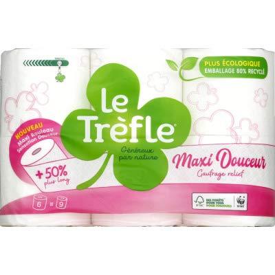 Le Trefer - Papel higiénico con diseño de trefle maxi suave, 6 = 9, 9 rollos