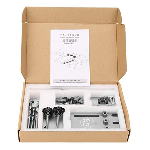 Kit de localizador de guía de taladro autocentrante para carpintería, guía de taladro de aleación de aluminio ajustable de 6/8/10/15 mm + buje de taladro de acero para herramienta de nitruro