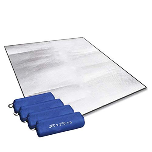 Aehma - Alfombra de dormir de espuma isomata de aluminio para camping, 200 x 250 cm, aislante para tienda de campaña, plegable, esterilla de suelo termomate mate de papel de aluminio, ultraligera
