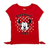 Disney Girl's Minnie Mouse Birthday Girl Blouse Tee Shirt, Red, Size 6