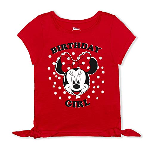 Disney Girl's Minnie Mouse Birthday Girl Blouse Tee Shirt, Red, Size 6X