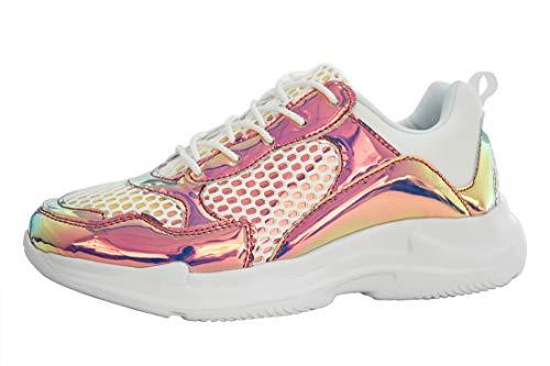 LUCKY STEP Frauen Leopard Pailletten Chunky Dad Air Cushion Sneakers | Hologramm Metallic Pailletten PU geschnürt Casual Sneaker Schuhe, (Hologramm, Violett), 39 EU