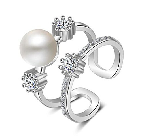 Anillo de mujer Boowohl de plata de ley 925 con perlas huecas de circonita, anillo de dedo, anillo doble ajustable, anillo de compromiso, anillo de pareja como regalo