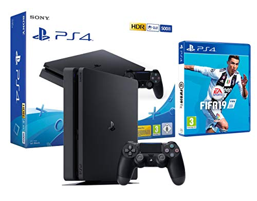 PS4 Slim 500Go Console Playstation 4 Noir + FIFA 19