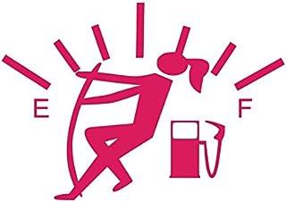 Funny Gas Guage Girl Vinyl Decal Sticker | Cars Trucks Vans SUVs Windows Walls Cups Laptops | Pink | 5.5 Inch | KCD2436P