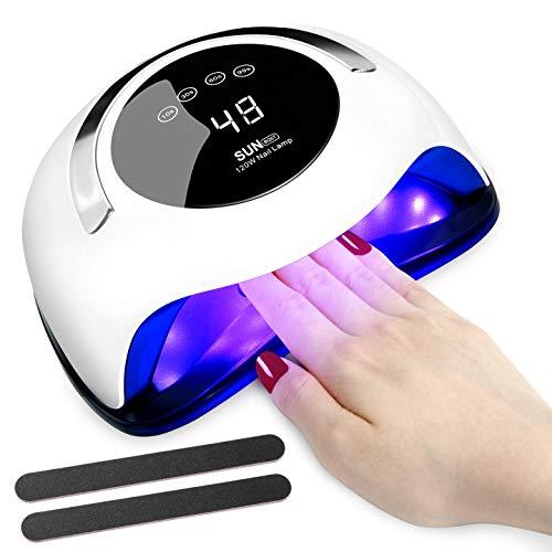 120W Nageltrockner, GuKKK LED/UV Licht Gel Nagellack Aushärtungslampe, Nageltrockner Lampe, Abnehmbarer Boden, 30/60/99s Timer, Infrarot Sensor, Touchscreen, LCD Display, Geeignet für alle Gel