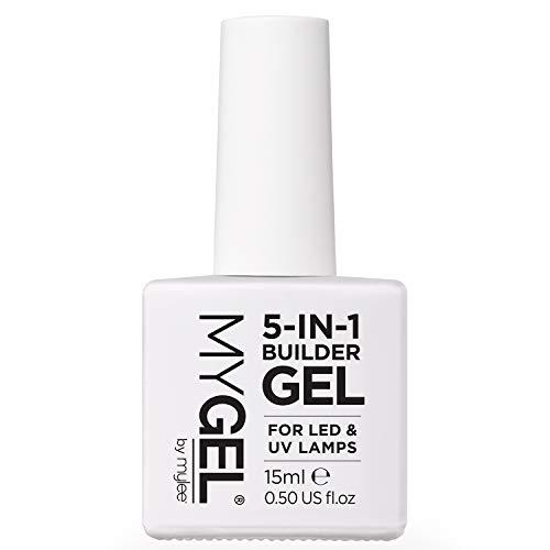 Mylee 5-in-1 Builder stärkendes Gel UV LED Nagellack durchsichtige Schicht für starke Nagelspitzen, Form, strukturieren und Extensions aufbauen, Für Nagelkunst-Dekoration & Decals, Maniküre-Reparatur
