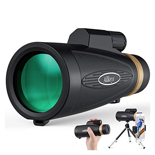 Allkeys 16x55 High Definition Monocular Telescope and Quick Smartphone Holder,2020 Newest Waterproof Monocular,Day & Low Night Vision,BAK4 Prism for Wildlife Bird Watching Hunting