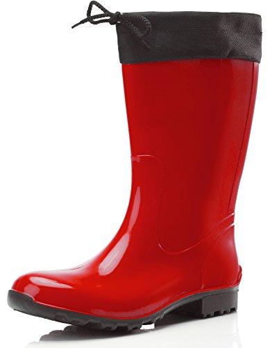 Ladeheid Botas Antideslizantes en PVC Mujer LA-968 (Rojo/Negro, 36 EU)